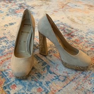 ELLE Sparkly Gold and Nude Heels